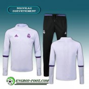 Achat Survetement Foot Real Madrid Collar Blanc + Pantalon Bleu 2016 2017 Ensemble