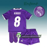 Authentique Ensemble Maillot Foot Real Madrid Enfant KROOS 8 Exterieur 2016 2017 Pourpre
