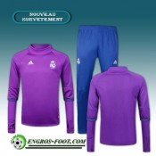 Boutique Survetement Foot Real Madrid Collar Pourpre + Pantalon Bleu 2016 2017 Ensemble En Ligne