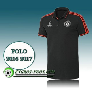Champions League Maillot de Polo Manchester United Noir 2016 2017 Site Officiel France
