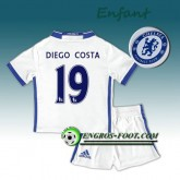 Ensemble Maillot Foot Chelsea Enfant DIEGO COSTA 19 Third 2016 2017 Blanc Moins Cher