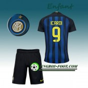 Ensemble Maillot Foot Inter Milan Enfant ICARDI 9 Domicile 2016 2017 Bleu/Noir Site Officiel France