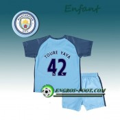 Ensemble Maillot Foot Manchester City Enfant TOURE YAYA 42 Domicile 2016 2017 Bleu Ciel Magasin Paris