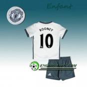 Ensemble Maillot Foot Manchester United Enfant ROONEY 10 Third 2016 2017 Blanc Soldes Nice
