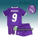 Ensemble Maillot Foot Real Madrid Enfant BENZEMA 9 Exterieur 2016 2017 Pourpre Promos