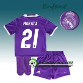 Ensemble Maillot Foot Real Madrid Enfant MORATA 21 Exterieur 2016 2017 Pourpre Ventes Privées