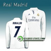 FR Maillot Real Madrid Manche Longue RONALDO 7 Domicile 2016 2017 Blanc