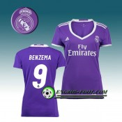 La Collection 2017 Maillot de Foot FC Real Madrid Femme BENZEMA 9 Exterieur 2016 2017 Pourpre