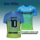 Magasin Maillot de Inter Milan JOVETIC 10 Third 2016 2017 Vert/Bleu Paris