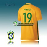 Maillot Equipe de Bresil Foot Domicile 16 17 - WILLIAN 19 Boutique Paris