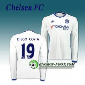 Maillot FC Chelsea Manche Longue DIEGO COSTA 19 Third 2016 2017 Blanc Soldes France