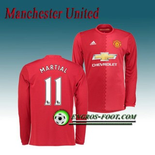 Maillot Manchester United Manche Longue MARTIAL 11 Domicile 2016 2017 Rouge Remise Nice