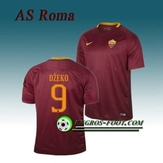 Maillot de AS Roma DZEKO 9 Domicile 2016 2017 Rouge Sombre Europe