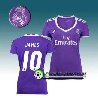 Maillot de Foot FC Real Madrid Femme JAMES 10 Exterieur 2016 2017 Pourpre Rabais