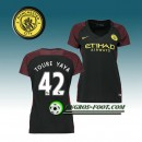 Maillot de Foot Manchester City Femme TOURE YAYA 42 Exterieur 2016 2017 Noir Boutique France