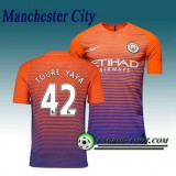 Maillot de Manchester City FC TOURE YAYA 42 Third 2016 2017 Orange/Pourpre Pas Cher Marseille