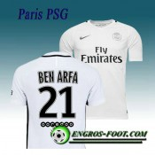 Maillot de Paris PSG BEN ARFA 21 Third 2016 2017 Blanc Vendre France