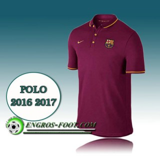 Maillot de Polo FC Barcelone Foot Vin Rouge 2016 2017 France Pas Cher