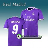 Maillot de Real Madrid BENZEMA 9 Exterieur 2016 2017 Pourpre Boutique France