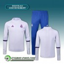 Mode Survetement Foot Real Madrid Collar Blanc + Pantalon Bleu 2016 2017 Ensemble