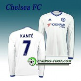 Nouvelle Collection Maillot FC Chelsea Manche Longue Kante 7 Third 2016 2017 Blanc