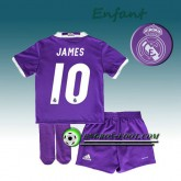 Prix Ensemble Maillot Foot Real Madrid Enfant JAMES 10 Exterieur 2016 2017 Pourpre