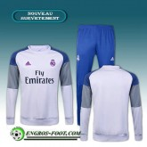 Prix Survetement Foot Real Madrid Blanc + Pantalon Bleu 2016 2017 Ensemble