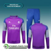 Survetement Foot Real Madrid Pourpre + Pantalon Bleu 2016 2017 Ensemble Boutique En Ligne