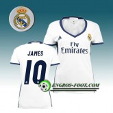 Vente Privée Maillot de Foot FC Real Madrid Femme JAMES 10 Domicile 2016 2017 Blanc