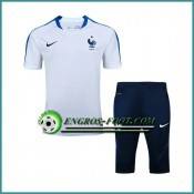 Vente Privée T Shirt France Blanc Kit 2016 2017 et Pantalon 3/4
