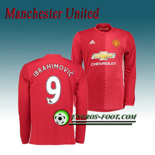 Maillot Manchester United Manche Longue Ibrahimovic 9 Domicile 2016 2017 Rouge