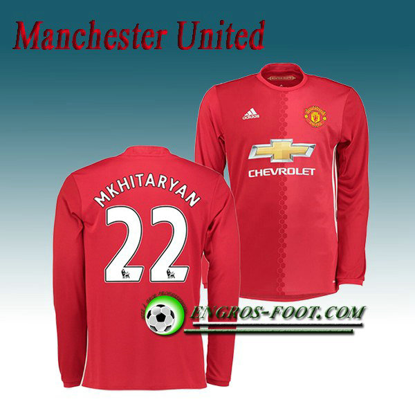 Maillot Manchester United Manche Longue Mkhitaryan 22 Domicile 2016 2017 Rouge