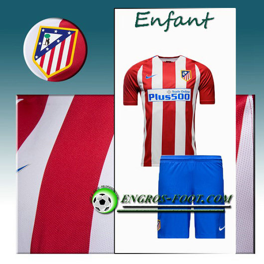 Ensemble Maillot Foot Atletico Madrid Enfant Domicile 2016 2017 Rouge/Blanc
