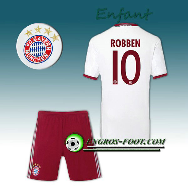 Ensemble Maillot Foot FC Bayern Enfant ROBBEN 10 Third 2016 2017 Gris
