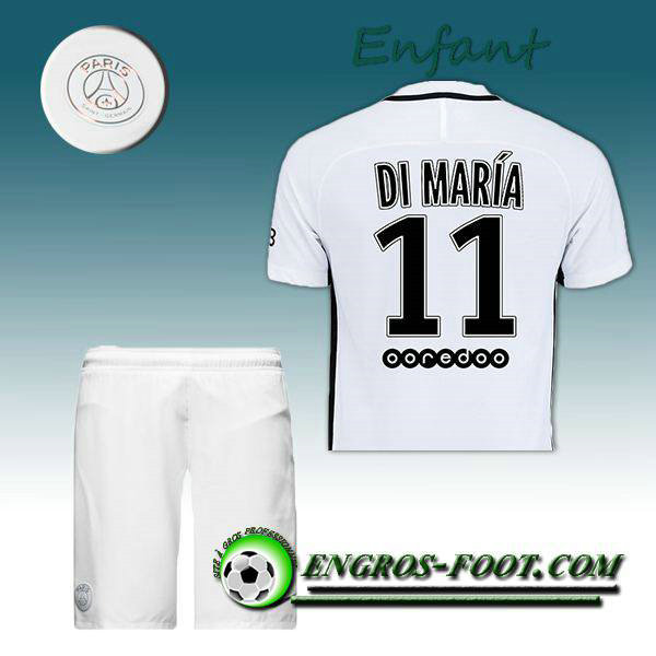 Ensemble Maillot Foot PSG Enfant DI MARIA 11 Third 2016 2017 Blanc