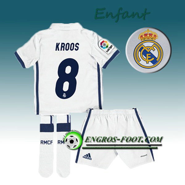 Ensemble Maillot Foot Real Madrid Enfant KROOS 8 Domicile 2016 2017 Blanc