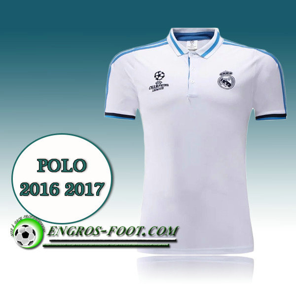 Champions League Maillot de Polo Real Madrid Blanc 2016 2017