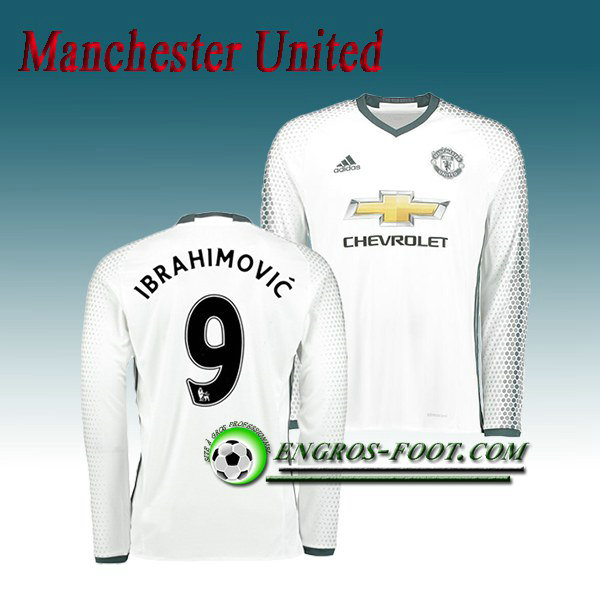 Maillot Manchester United Manche Longue Ibrahimovic 9 Third 2016 2017 Blanc