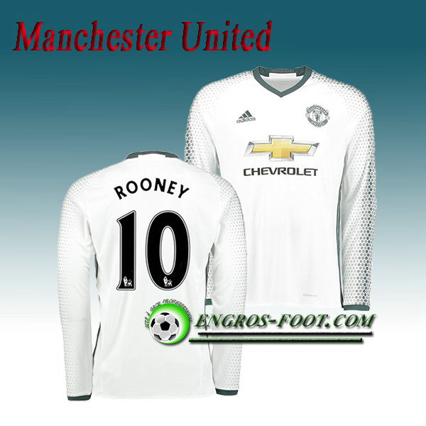 Maillot Manchester United Manche Longue ROONEY 10 Third 2016 2017 Blanc