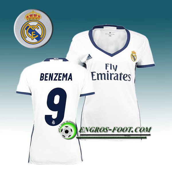 Maillot de Foot FC Real Madrid Femme BENZEMA 9 Domicile 2016 2017 Blanc
