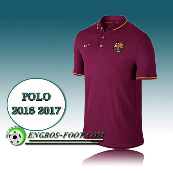 Maillot de Polo FC Barcelone Foot Vin Rouge 2016 2017