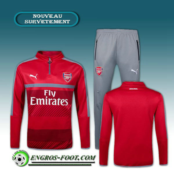 Survetement Foot Arsenal Orange/Gris 2016 2017