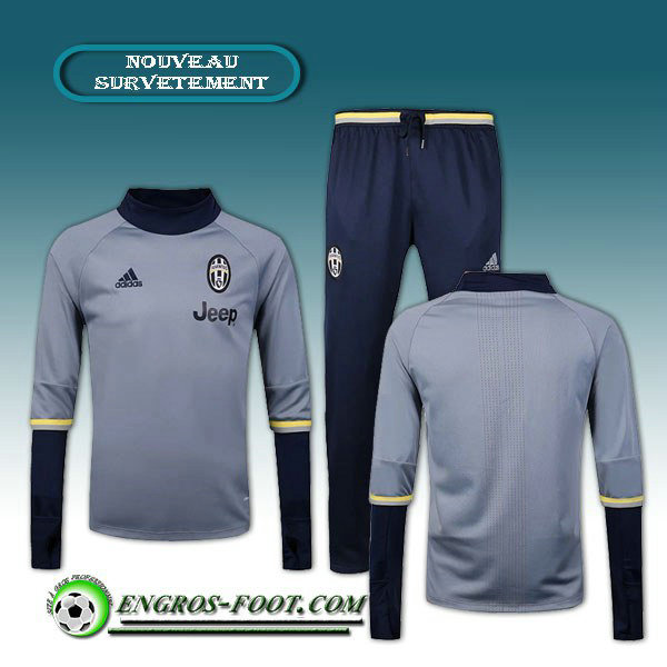 Survetement Foot Juventus Gris/Noir 2016 2017 Ensemble