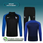 Authentique Survetement Foot France Enfant Noir/Bleu 2016 2017