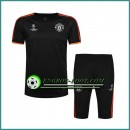 Champions League T Shirt Manchester United Noir Kit 2016 2017 & Pantalon 3/4 Paris