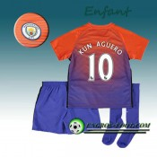 Ensemble Maillot Foot Manchester City Enfant KUN AGUERO 10 Third 2016 2017 Orange/Pourpre Commerce De Gros