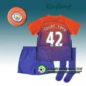 Ensemble Maillot Foot Manchester City Enfant TOURE YAYA 42 Third 2016 2017 Orange/Pourpre Promo Prix Paris