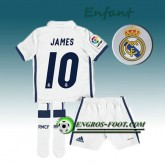 France Ensemble Maillot Foot Real Madrid Enfant JAMES 10 Domicile 2016 2017 Blanc