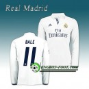 Maillot Real Madrid Manche Longue BALE 11 Domicile 2016 2017 Blanc Europe