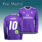 Maillot Real Madrid Manche Longue JAMES 10 Exterieur 2016 2017 Pourpre Rabais Paris